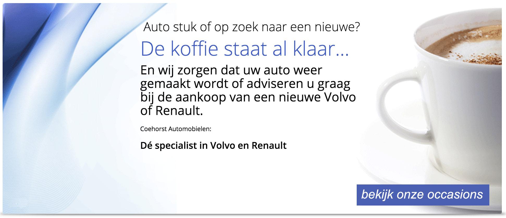 lease concept apk keuring power flush volvo, renault, Coehorst Automobielen is gespecialiseerd in verkoop, onderhoud, schadeherstel (voor verzekeringsmaatschappijen) en APK-keuringen van Volvo en Renault.